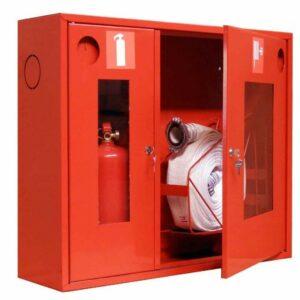 Шкаф для пожарных кранов встроенный с окном - ШПК-315 ВОК